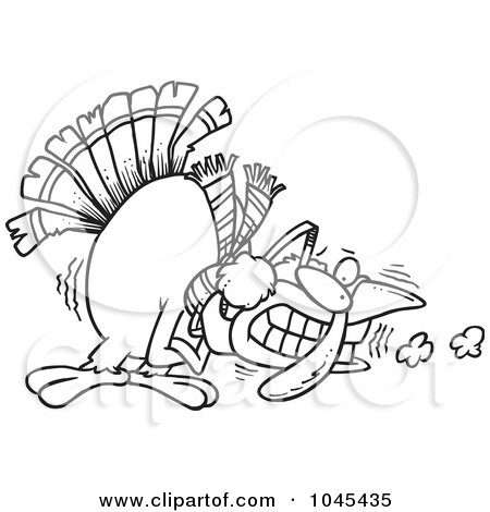Royalty-Free (RF) Clip Art Illustration of a Cartoon Black And White Outline Design Of A Shivering Cold Turkey by toonaday