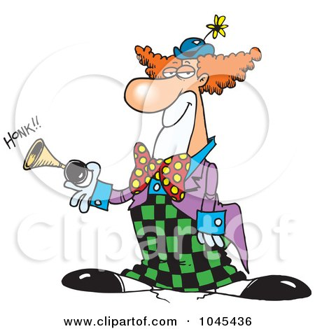 Royalty-Free (RF) Clip Art Illustration of a Cartoon Party Clown Honking A Horn by toonaday
