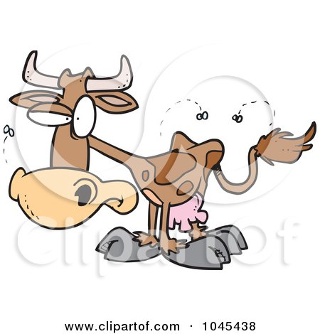Royalty-Free (RF) Clip Art Illustration of a Cartoon Stinky Cow by toonaday