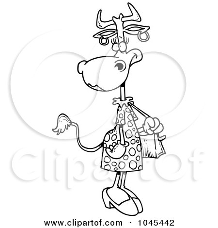Royalty-Free (RF) Clip Art Illustration of a Cartoon Black And White Outline Design Of A Female Cow Carrying A Purse by toonaday