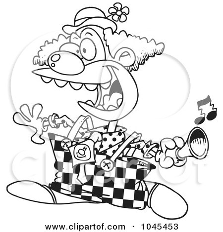 Royalty-Free (RF) Clip Art Illustration of a Cartoon Black And White Outline Design Of A Party Clown Using  A Horn by toonaday