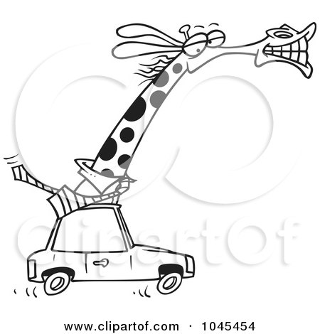 Royalty-Free (RF) Clip Art Illustration of a Cartoon Black And White Outline Design Of A Business Rhino Commuting By Car by toonaday