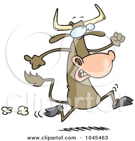 Royalty-Free (RF) Clip Art Illustration of a Cartoon Running Cow by toonaday