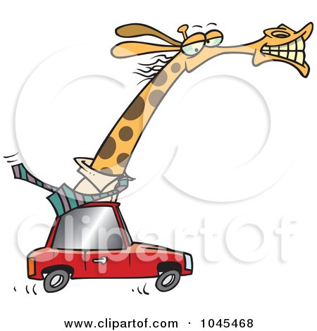 Royalty-Free (RF) Clip Art Illustration of a Cartoon Business Rhino Commuting By Car by toonaday