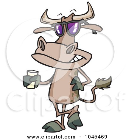 Royalty-Free (RF) Clip Art Illustration of a Cartoon Cow Standing With A Glass Of Milk by toonaday