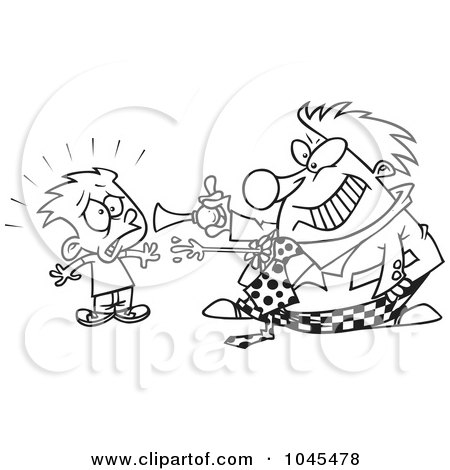 Royalty-Free (RF) Clip Art Illustration of a Cartoon Black And White Outline Design Of A Clown Scaring A Boy by toonaday