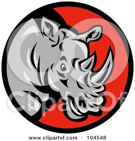Royalty-Free (RF) Clipart Illustration of a Mad Rhino Logo by patrimonio