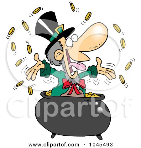 Royalty-Free (RF) Clip Art Illustration of a Cartoon Leprechaun Celebrating In His Pot Of Gold by toonaday