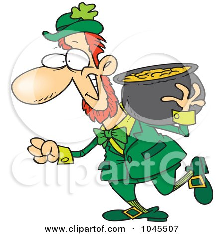 Royalty-Free (RF) Clip Art Illustration of a Cartoon Leprechaun Carrying His Pot Of Gold On His Shoulder by toonaday