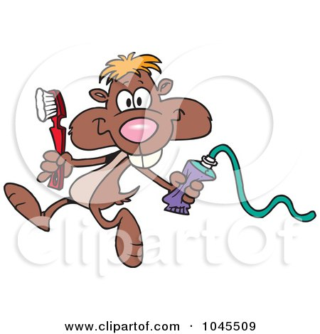 Royalty-Free (RF) Clip Art Illustration of a Cartoon Dental Gopher by toonaday