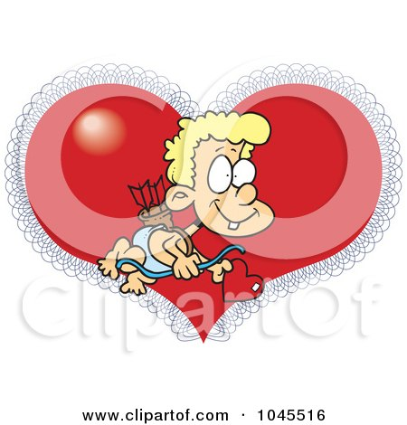 Royalty-Free (RF) Clip Art Illustration of a Cartoon Cupid Boy Over A Heart by toonaday