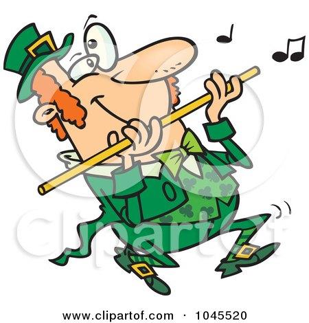 Royalty-Free (RF) Clip Art Illustration of a Cartoon St Patricks Day Leprechaun Playing A Flute by Ron Leishman