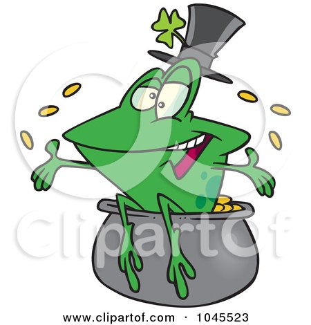 Royalty-Free (RF) Clip Art Illustration of a Cartoon St Patricks Day Frog On A Pot Of Gold by toonaday