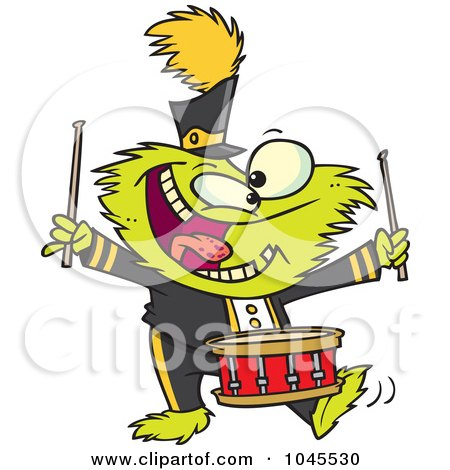 Royalty-Free (RF) Clip Art Illustration of a Cartoon Monster Banging A Drum by toonaday