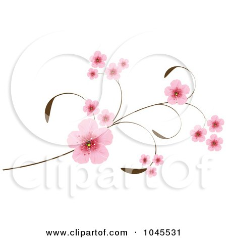 Royalty-Free (RF) Clip Art Illustration of Pink Cherry Blossoms On An Elegant Branch by Pushkin