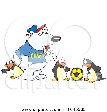 Royalty-Free (RF) Clip Art Illustration of a Cartoon Polar Bear Coaching Penguins For Soccer by toonaday