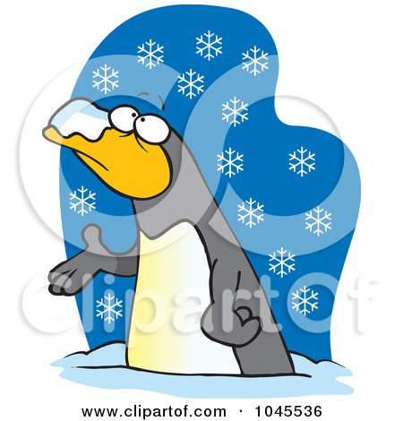 Royalty-Free (RF) Clip Art Illustration of a Cartoon Penguin In The Snow by toonaday