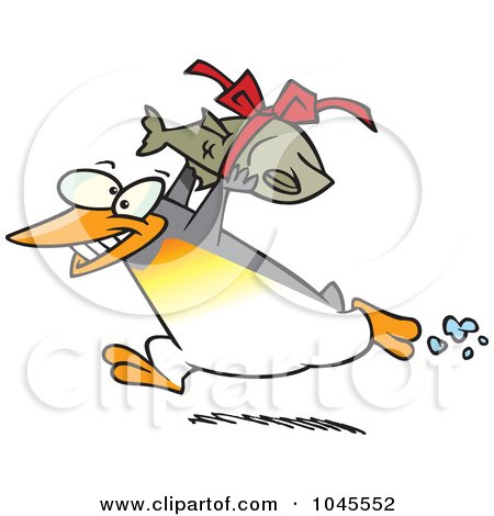 Royalty-Free (RF) Clip Art Illustration of a Cartoon Penguin Carrying A Fish Gift by toonaday