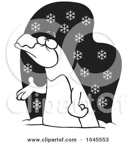 Royalty-Free (RF) Clip Art Illustration of a Cartoon Black And White Outline Design Of A Penguin In The Snow by toonaday