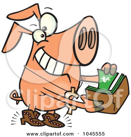 Royalty-Free (RF) Clip Art Illustration of a Cartoon Rich Phat Pig by toonaday