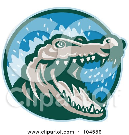 Royalty-Free (RF) Clipart Illustration of a Snapping Crocodile Logo by patrimonio