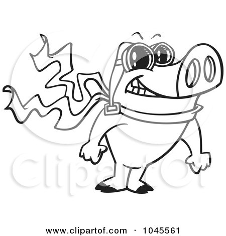 Royalty-Free (RF) Clip Art Illustration of a Cartoon Black And White Outline Design Of A Pilot Pig Posing by toonaday