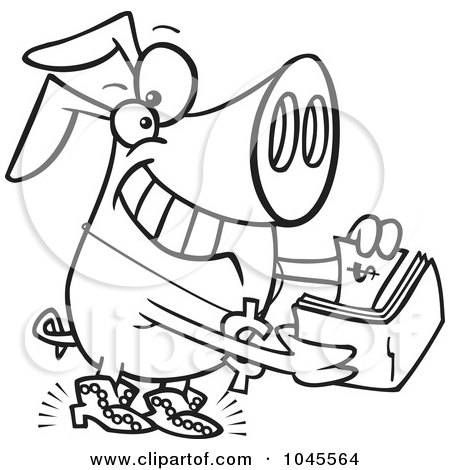 Royalty-Free (RF) Clip Art Illustration of a Cartoon Black And White Outline Design Of A Rich Phat Pig by toonaday