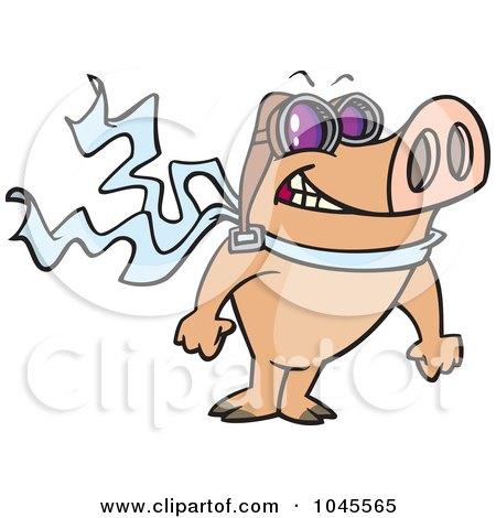 Royalty-Free (RF) Clip Art Illustration of a Cartoon Pilot Pig Posing by toonaday