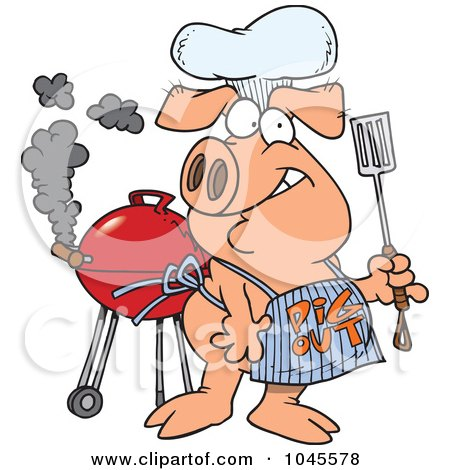 Royalty-Free (RF) Clip Art Illustration of a Cartoon Bbq Pig ...