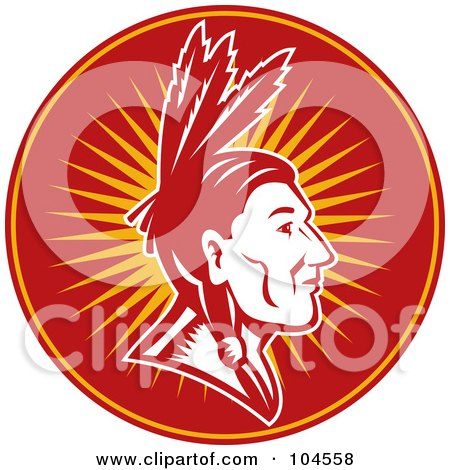 Royalty-Free (RF) Clipart Illustration of a Native American Chief Logo by patrimonio