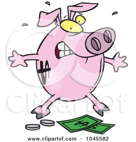 Royalty-free clipart picture of a piggy bank over money,