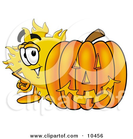 Clipart Picture of a Sun Mascot Cartoon Character With a Carved Halloween Pumpkin by Toons4Biz