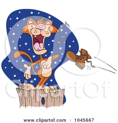 Royalty-Free (RF) Clip Art Illustration of a Cartoon Boot Flying At A Serenading Cat On A Fence by toonaday