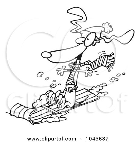 Royalty-Free (RF) Clip Art Illustration of a Cartoon Black And White Outline Design Of A Wiener Dog Sledding by toonaday
