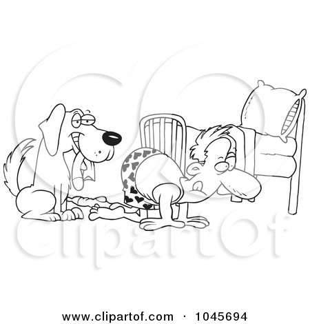 Royalty-Free (RF) Clip Art Illustration of a Cartoon Black And White Outline Design Of A Dog Holding A Sock While His Master Searches by toonaday