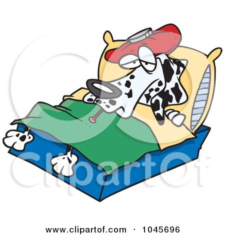 Royalty-Free (RF) Clip Art Illustration of a Cartoon Sick Dalmatian In Bed by toonaday