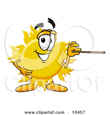 Clipart Picture of a Sun Mascot Cartoon Character Holding a Pointer Stick by Toons4Biz