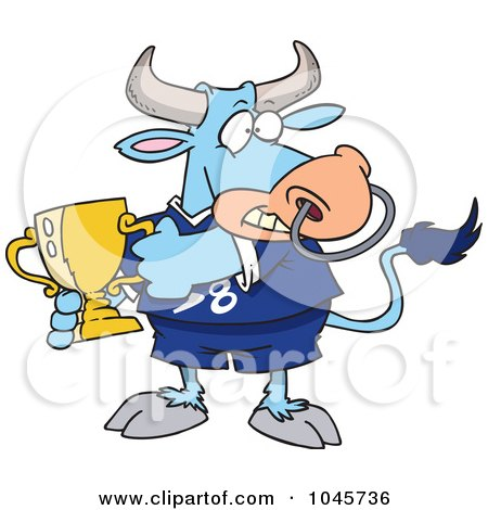 Royalty-Free (RF) Clip Art Illustration of a Cartoon Sports Bull Holding A Trophy Cup by toonaday