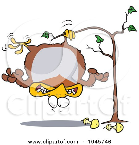 Royalty-Free (RF) Clip Art Illustration of a Cartoon Fat Partridge Hanging Upside Down In A Pear Tree by toonaday