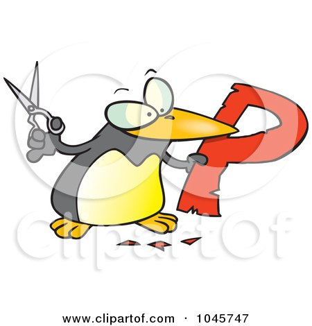 Royalty-Free (RF) Clip Art Illustration of a Cartoon Penguin Cutting Out The Letter P by toonaday