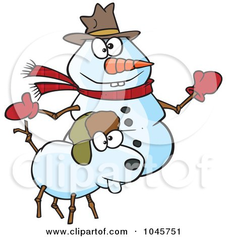 Royalty-Free (RF) Clip Art Illustration of a Cartoon Snow Dog And Snowman by toonaday