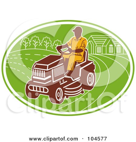 Royalty-Free (RF) Clipart Illustration of a Man Opering A Ride On Lawn Mower Logo by patrimonio