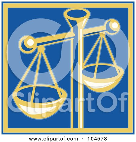 Royalty-Free (RF) Clipart Illustration of a Yellow Scales Of Justice On Blue by patrimonio