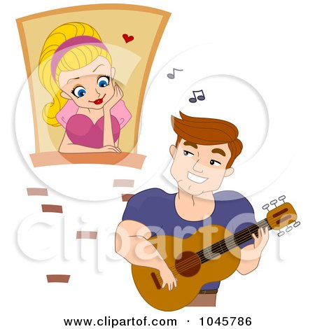 Royalty-Free (RF) Clip Art Illustration of a Man Serenading Woman In A Window by BNP Design Studio