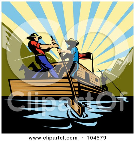 Royalty-Free (RF) Clipart Illustration of Cowboys Steering A Flatboat On A River by patrimonio