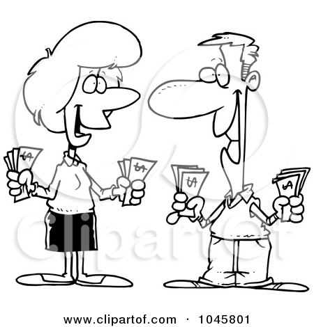 Royalty-Free (RF) Clip Art Illustration of a Cartoon Black And White Outline Design Of A Wealthy Couple Holding Cash by toonaday