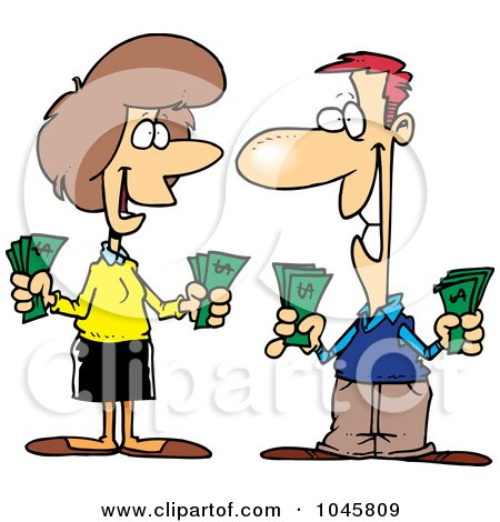 Royalty-Free (RF) Clip Art Illustration of a Cartoon Wealthy Couple Holding Cash by toonaday