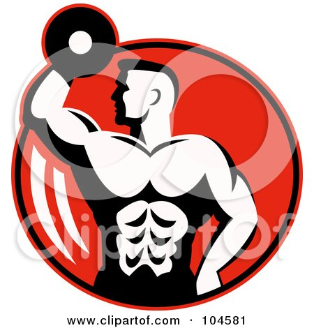 Royalty-Free (RF) Clipart Illustration of a Bodybuilder With A Dumbbell Logo by patrimonio