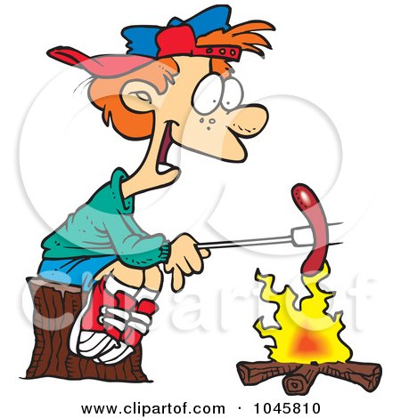 Royalty-Free (RF) Clip Art Illustration of a Cartoon Boy Roasting A Weenie Over A Campfire by toonaday