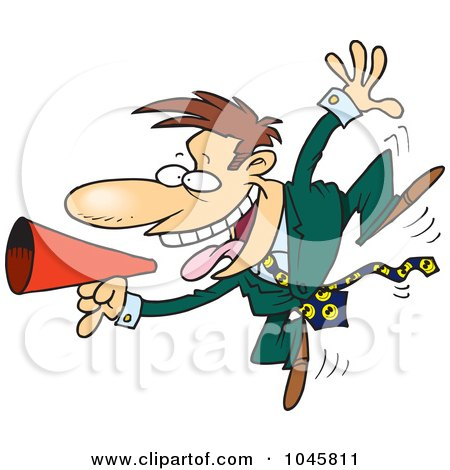 Royalty-Free (RF) Clip Art Illustration of a Cartoon Businessman Using A Megaphone by toonaday